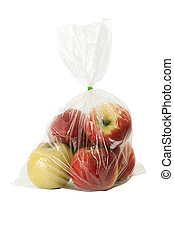 Apple with plastic warp on white background