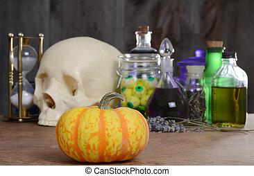 halloween still life with pumpkin