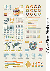 Detail infographic illustration World Map and Information...