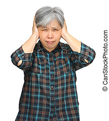 asian mature woman closing ears with hands