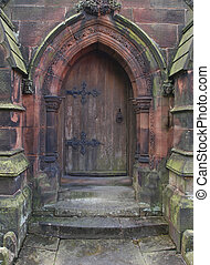 Gothic Church Door - door to north porch St. Giles church,...