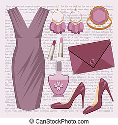 Fashion set with a dress - Vector illustration It is created...