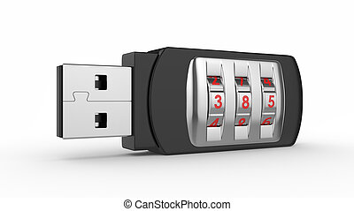 USB flash drive with combination lock - Data security...