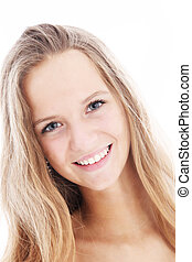Sincere friendly student with lovely smile - Headshot of a...