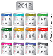 Calendar for 2013 year with colorful stickers. Vector...