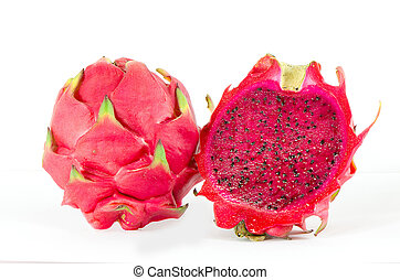Red dragon fruit - Healthy red dragon fruit against white...