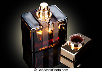bottle of perfume - beautiful bottle of perfume on a dark...