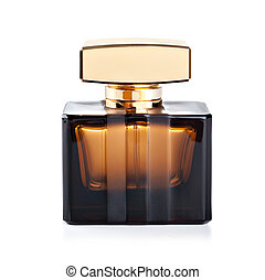bottle of perfume - beautiful bottle of perfume on a white...