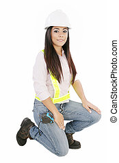 Young smiling Worker woman. Isolated over white background