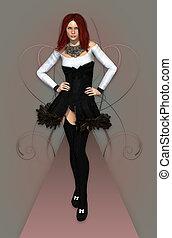 Fashion Model b/w - a female model in a stylish dress