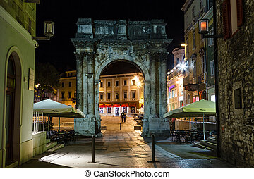 Golden Gate Sergius Arch in Pula at Night, Croatia