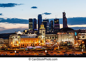 Moscow City and Kievskiy Railway Station in the Evening,...