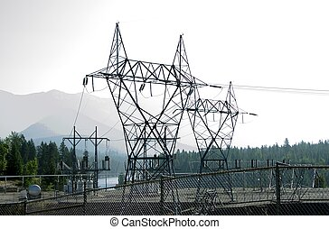 Hydro electrical towers are tall steel lattice structures...