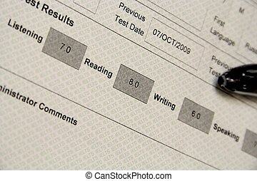 Marked IELTS exam results