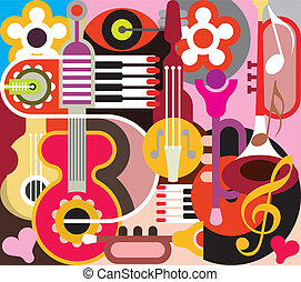 Abstract Music Background - vector illustration Collage with...