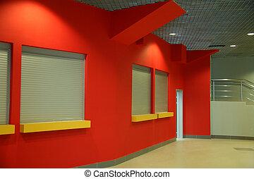 bâtiment, mur, intérieur, rouges, bureau