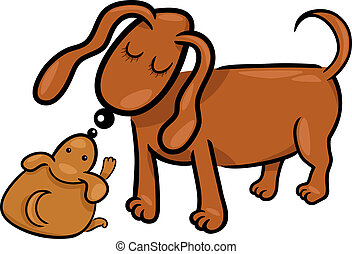 cartoon puppy and his dog mom - Cartoon Illustration of Cute...
