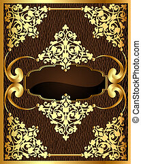 background with brown frame with gold(en) pattern