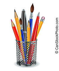 Brushes, pencils and pens in the holder Vector illustration