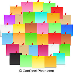 Post-it notes - Circle made of color post-it notes, vector...
