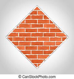 Romb made of bricks, vector eps10 illustration