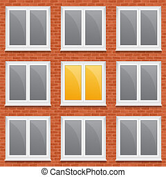 Windows in brick wall, vector eps10 illustration