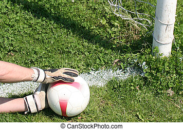 Soccer football goalkeeper making save