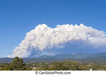 Forest fire, Santa Fe, New Mexico - Fire in the Sangre de...