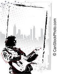guitarist poster - illustration of guitarist