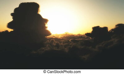 fly clouds sunset