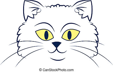 Cat Face Outline  - Large outlined cartoon cat face