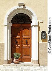 elegante, puerta, encuadrado, arco