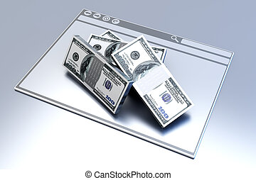 Financial Browser - Dollars in a Browser window 3D rendered...