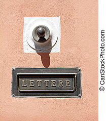 doorbell and slot for post, Tuscany, Italy, Europe