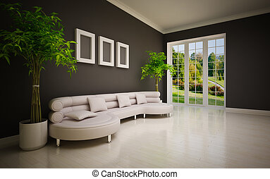 Minimal modern interior - minimal modern interior with large...