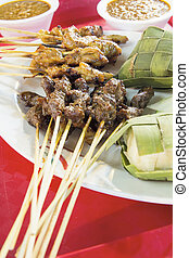 Chicken and Mutton Satay with Ketupat and Peanut Sauce -...
