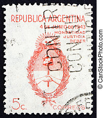 Postage stamp Argentina 1943 Arms of Argentina - ARGENTINA -...