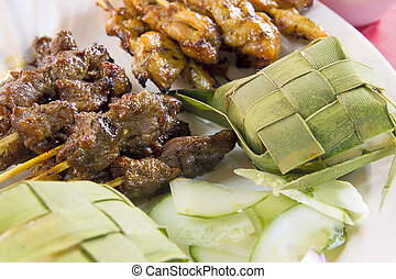 Chicken and Mutton Satay with Ketupat and Cucumbers -...
