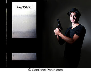 Private Detective - Handsome police private detective man on...