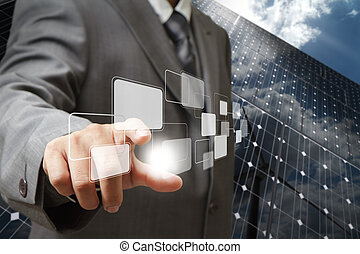 point to virtual buttons as green energy concept - business...