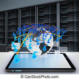 tableta, computadora, social, red, icono, concepto