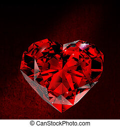 Shiny red diamond on dirt background 3d rendering