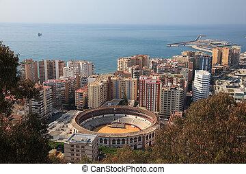 vue, sur, ville, Malaga, Andalousie, espagne