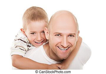 Father and son - Smiling father and little son - family...