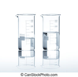 Laboratory flasks with a clear liquid