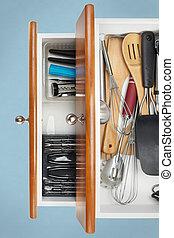 Organized Kitchen Drawers - Utensils organized in kitchen...