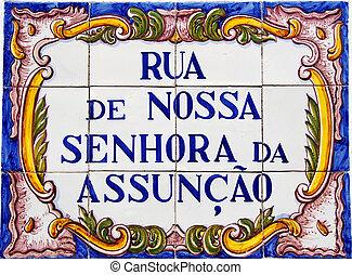 Portuguese tile plaque on street
