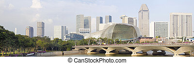 Singapore City Skyline Along River Panorama