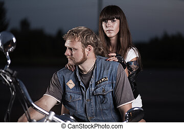 Bikers - Portrait of bikers on motorcycle