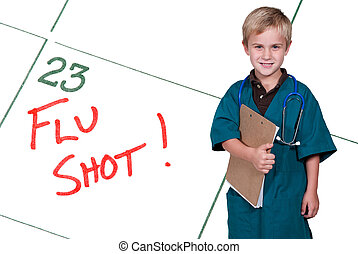 Little Doctor Flu Shot - A calendar reminder for a Flu Shot